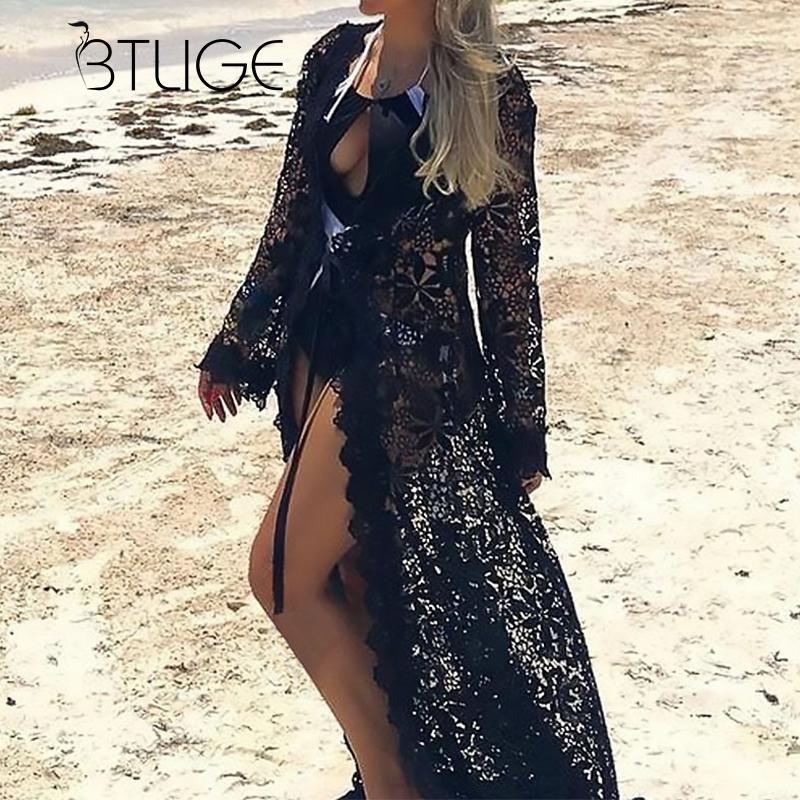 BTLIGE Black White Beach Cover Up Summer Hollow Out Swimsuit Lace Bikinis Cover-ups Women Long Tunic Beach wear robe de plage hollow out swimsuit
