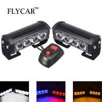 FLYCAR LED Emergency Strobe Flash Warning Light Bar 12V 24V White/ Red Blue/ Amber Flashing Strobe Light Kit for Car SUV Truck