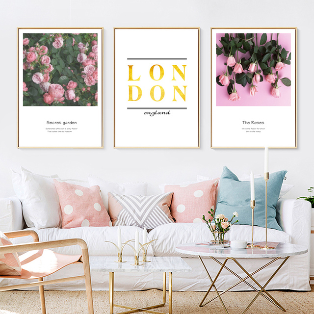 Secret Garden Posters Prints Rose Wall Art Canvas Painting Flowers Wall  Pictures For Room HD2329