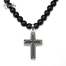 Thomas Matt Black Obsidian Beads and Cross Pendant Necklace, Rebel Heart Jewelry Punk Christmas Gift For Women and Men TS-N332