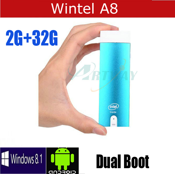 Free shipping Wintel A8 Mini PC TV BOX HDMI Dongle Quad Core Intel Z3735F 1.33Ghz Windows 8.1 Pro Android 4.4 dual OS HTPC