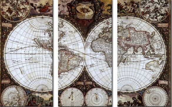 Clstrose rushed 3 pieces canvas wall art hd world map vintage clstrose rushed 3 pieces canvas wall art hd world map vintage painting modern office artwork of canvas paintings home decor in painting calligraphy from gumiabroncs Images