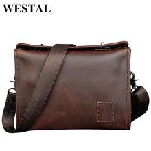 WESTAL Vintage PU Leather Men Bag Men Messenger Bags Fashion Shoulder Crossbody Bag PU Leather Handbag ipad Travel Bag New