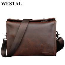 WESTAL Vintage PU deri erkek çantası erkekler postacı çantası moda omuz çantası Crossbody PU deri çanta ipad seyahat çantası yeni