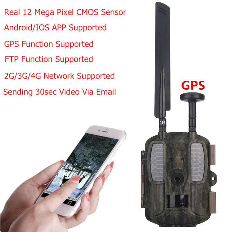 US $102 54 32% OFF Photo Traps Wild Camera 4G with GPS/MMS/Email/FTP/GSM  Night Vision Hunting Trail Camera 4G Wide Angle support IOS Android APP-in