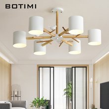 BOTIMI Nordic 220V Birds Chandelier With Metal Lampshade For Living Room Modern Wooden Bedroom Chandeliers