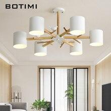 купить BOTIMI Nordic Birds 220V Chandelier With Metal Lampshade For Living Room Wooden Rooms Chandeliers Foyer Lustres Modern Hanglamp дешево