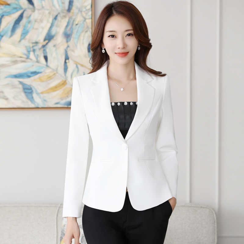 Blazer Mujer 2019 jesień urząd Lady mały garnitur kurtka damska Slim jednolity kolor Blazer Blazer De Mujer Bleser Femenino