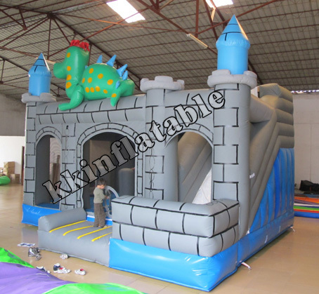 Inflatable Dinosaur Trampoline Combo Slide,Commercial Use PVC Tarpaulin Castle Bounce House commercial hello kitty inflatable castle slide combo with pool and free ce blower