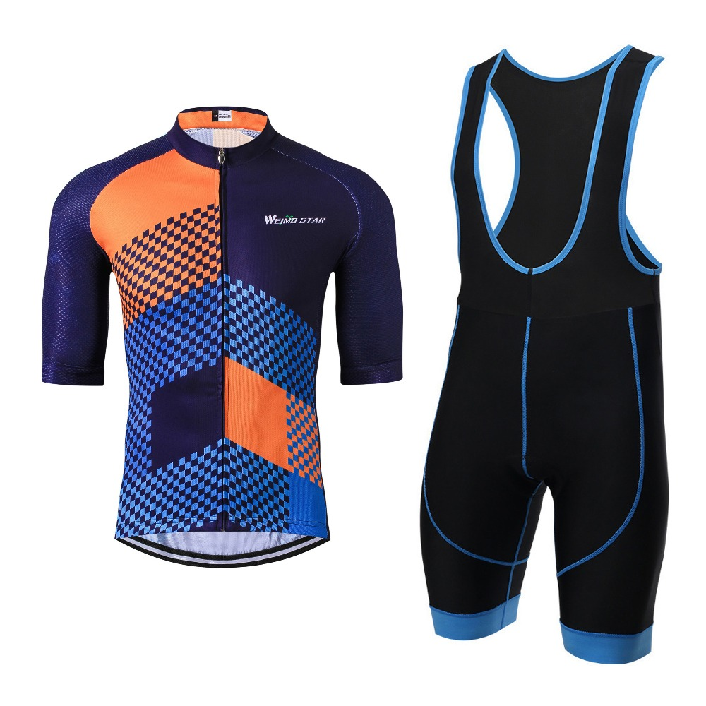 Weimostar Cycling Jersey Pro Team Men Summer Half Sleeve MTB Bike Bicycle Cycling Clothing Jersey Sets with Gel Pad Blue Orange