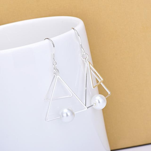Модные Двойные треугольные серьги из стерлингового серебра 925