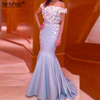 Mermaid Prom Dressess Sequins Off The Shoulder Sleeves Prom Dresses Evening Wear Applique Floor Length