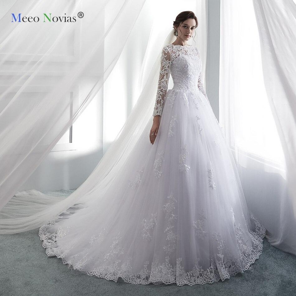 MN819003 Long Sleeves Ball Gown Princess Wedding Dresses 2019 Luxury Scoop Floor Length Bridal Wedding Gowns