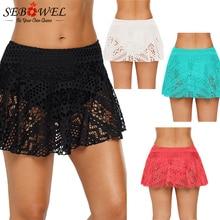 SEBOWEL Sexy Black Crochet Lace Skirted Bikini Summer Bottom One Piece Hollow Ou