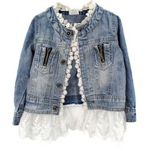 Girls Kids Lace Jean Jacket Coat Long Sleeve Botton Outwear Clothes 2-7Years ZV37