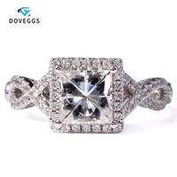 DovEggs 2 Carat ct New DEF Princess Cut Engagement Lab Grown Moissanite Diamond Ring With Diamond Accents14K 585 White Gold