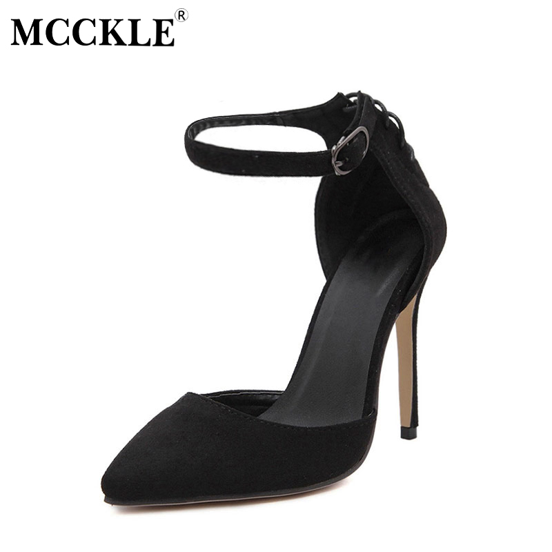 MCCKLE Women Flock Buckle Strap Sexy Shoes High Heel Solid Wedding Pump Pointed Toe Slip-On Spring Autumn Fashion Black Red spring autumn solid metal decoration flats shoes fashion women flock pointed toe buckle strap ballet flats size 35 40 k257