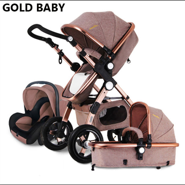 GOLD BABY baby stroller 3 in 1 2 in 1 High landscape Super shock absorber Silent design ramaiz aluminum-magnesium 0-4 years Rubb