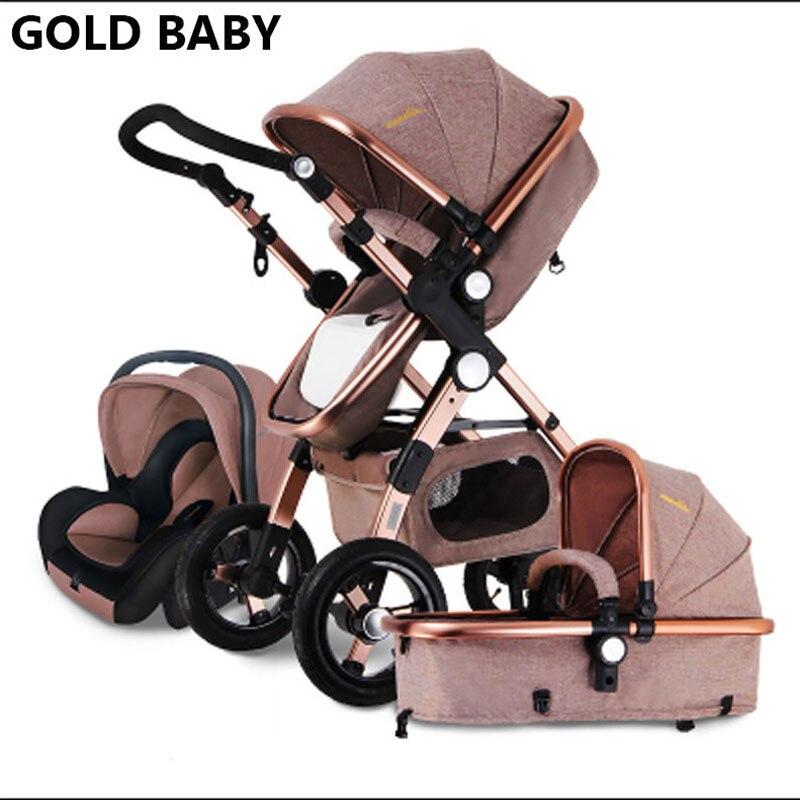 GOLD BABY детская коляска 3 в 1 2 в 1Высокий пейзаж Супер амортизатора Тихий дизайн рамаиз алюминиево-магниевого 0-4 лет Резиновые колеса Устойчиво...