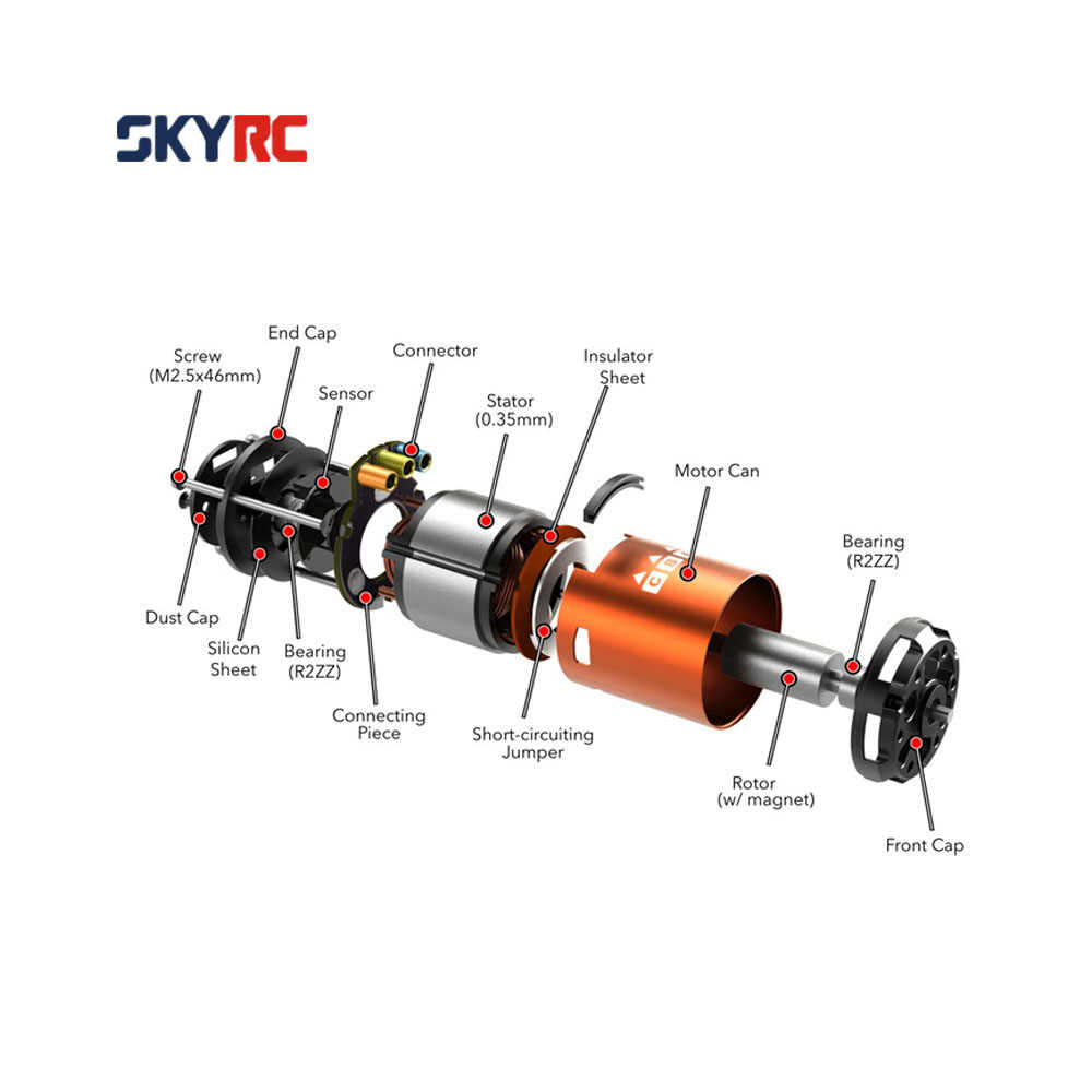 SkyRC 4000KV 8,5 T 2P & CS60 60A Motor sin escobillas y ESC & juego combinado de tarjetas de programa LED para 1/10 de 1/12 Buggy coche de turismo