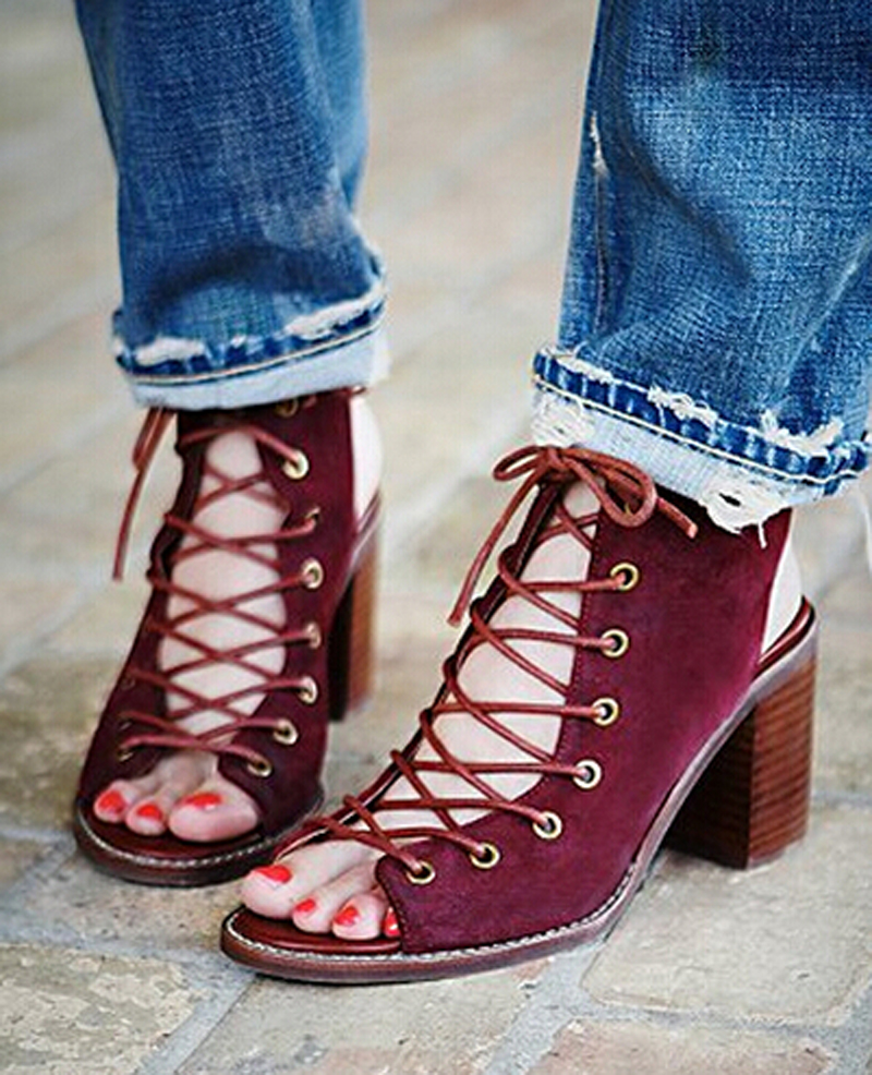 Sexy Boho Gypsy Style Shoes Woman Cross Tied Ankle Wrap Gladiator Sandals Women Sandals 2016 Lace Up Square Heels Summer Shoes купить