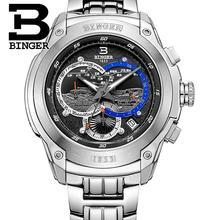 Switzerland men's watch luxury brand Wristwatches BINGER Quartz watch full stainless steel Chronograph Diver glowwatch B6013-3