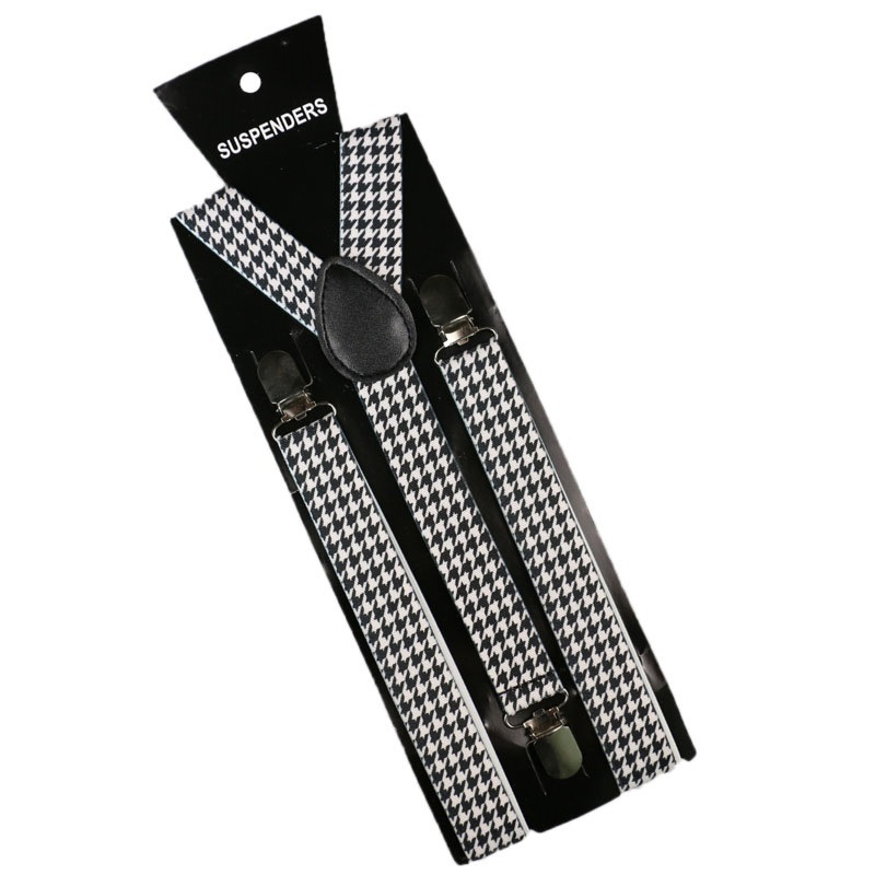 OLOME Vintage Houndstooth Suspenders Braces Men Women Plaid Shirt Suspensorio Female Trousers Strap Pants Male
