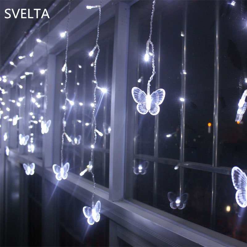 SVELTA 10M 320 Bulbs LED Fairy Butterfly Curtain Lights LED Garland Christmas String Lights For Wedding Holiday Home Decoration 1 5x1 5 rgb led string christmas fairy lights luces decorativas led para fiestas curtain valance home wedding decoration garland