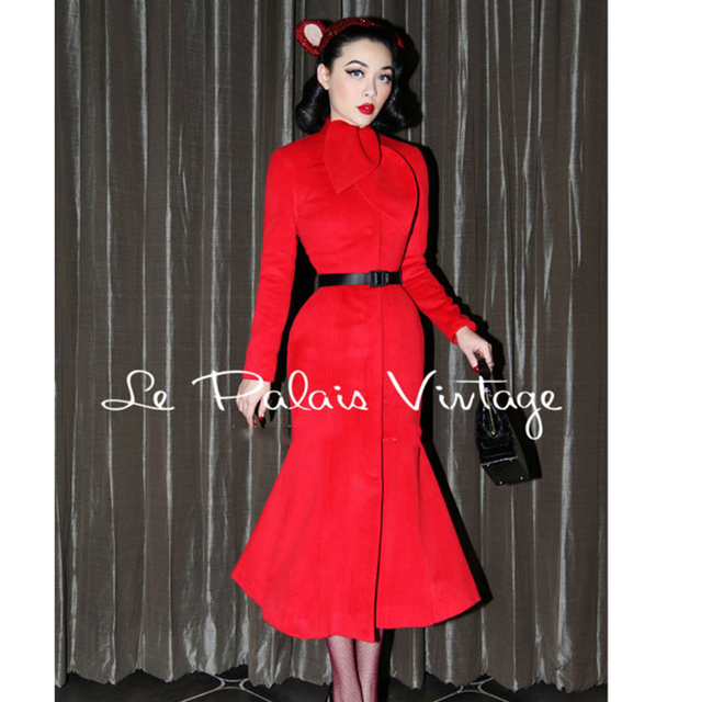 df7995513 FREE SHIPPING Le Palais Vintage limited edition chinese red retro elegant  slim tail long red cashmere