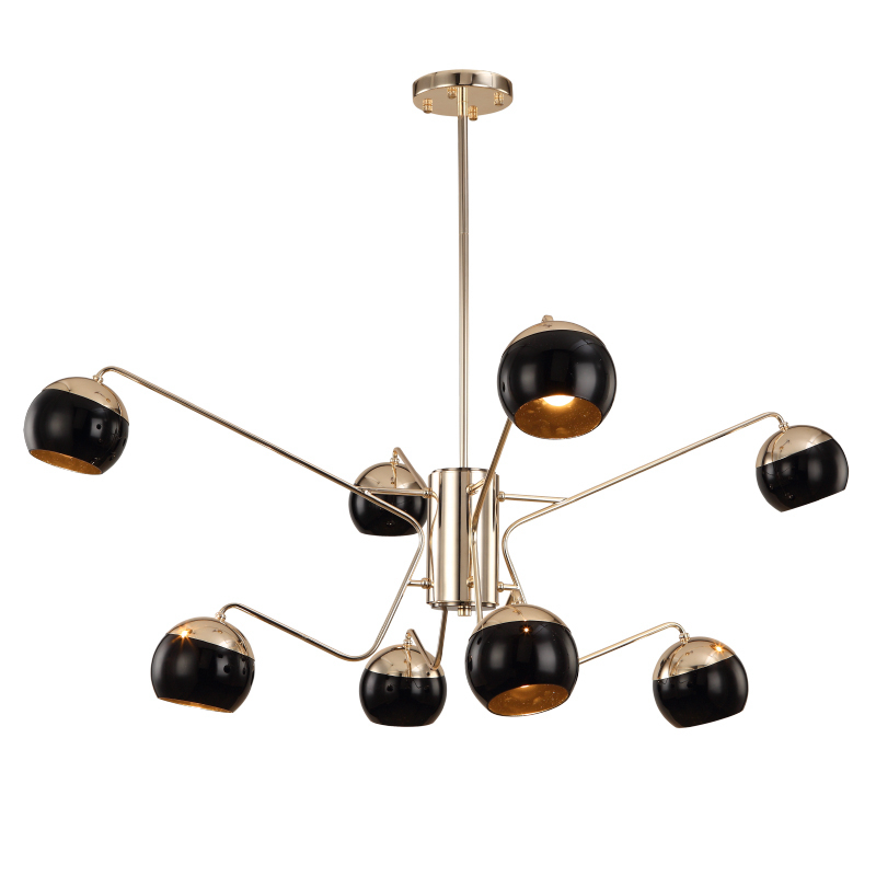 Nordic 8 arm led chandelier light Toolery black modern creative iron body Hanging lamp villa compound E27 lamp free shipping 45 head nordic creative circle dia 95cm led chandelier light round bubble glass lampshade villa g4 lamp 3w ac220v free shipping