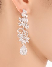 Jonnafe Magnífico Diseño AAA + Circón Cristal de Las Mujeres Pendientes Largos Accesorios de La Boda Nupcial Pendientes de Gota