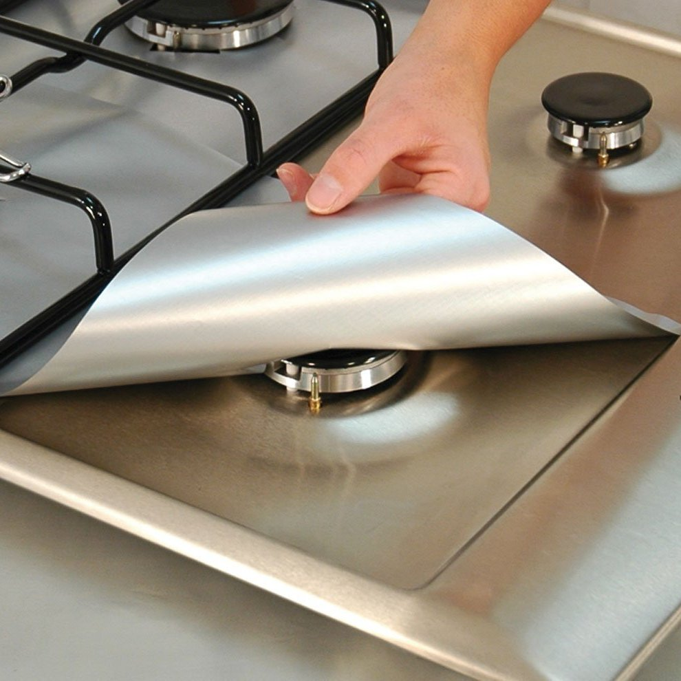 4Pcs/lot Stovetop Protector-Cooks Innovations Aluminum Foil Reusable Gas Stove Protector ...