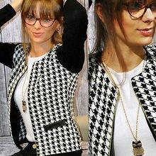 2016 New Fashion Spring Korean Style Slim Long Sleeve Houndstooth Plaid Coat Jacket Women Cardigan
