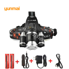 USB 8000lm XML T6+2R5 ZOOM LED Headlight Headlamp Head Lamp Light 4-mode Torch+2x18650 Battery+EU/US/UK/AU Car Charger Fishing