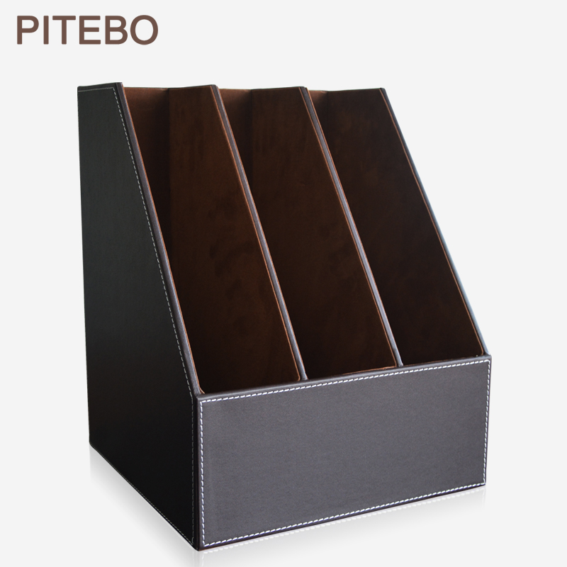PITEBO 3 slot wood leather desk file document holder tray box cubbyhole pigeonhole organizer rack brown|File Tray|Education & Office Supplies - title=