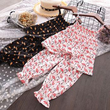 Conjunto de Ropa para Niñas con estampado de flamenco, ropa de verano para niñas, conjuntos de Tops y pantalones cortos de gasa, conjuntos de ropa para niños