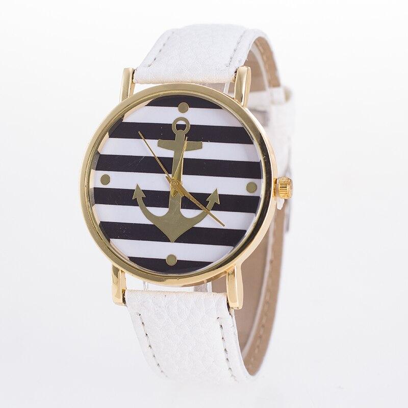 Women Striped Anchor Analog Leather Anchor Ladies Watches Women Luxury Brand Bayan Kol Saati Relogio Feminino