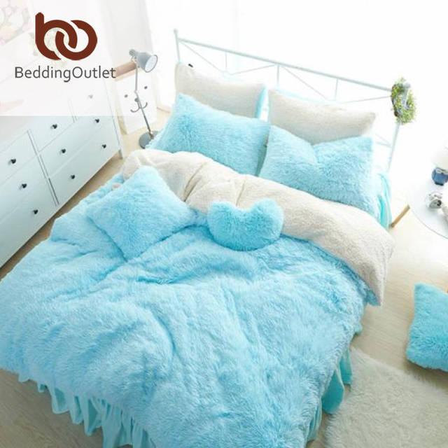 BeddingOutlet Голубой Комплект Постельных Принадлежностей Норки Кашемира Уютная Кровать Юбка Роскошный Пододеяльник Близнец Королевы Король Супер-король