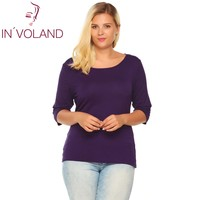 IN VOLAND Women T Shirt Top Oversized Autumn Spring Round Collar 3 4 Sleeve Solid Slim