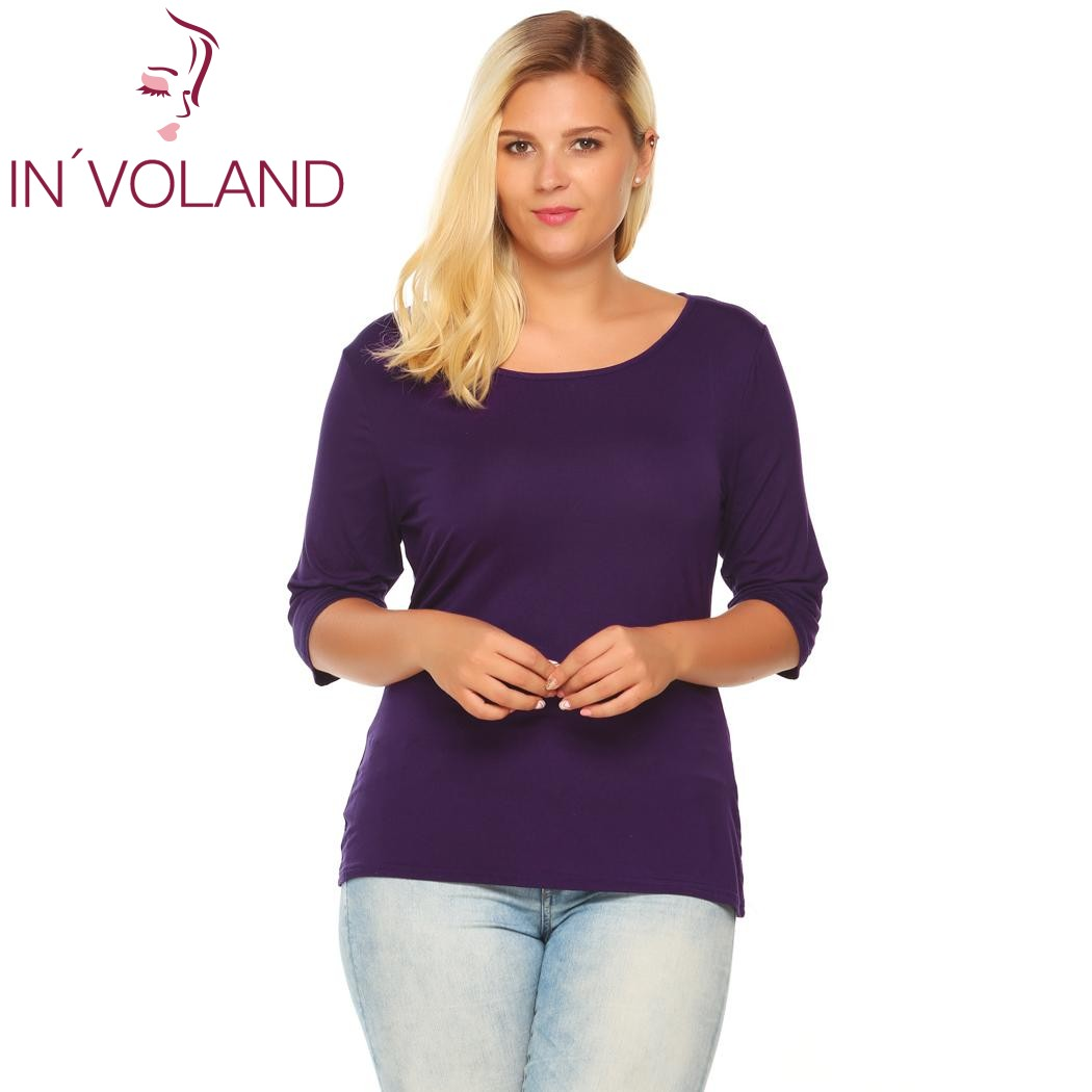IN'VOLAND Women T-Shirts Top Big Size Autumn Spring Round Collar 3/4 Sleeve Solid Slim Fit Pullover Casual Tshirt Tees Plus Size