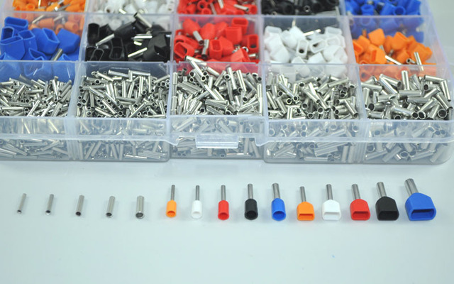 2340pcs/lot  mixed 15 models  Dual Bootlace Ferrule Kit Electrical Crimp Crimper cord wire end terminal block