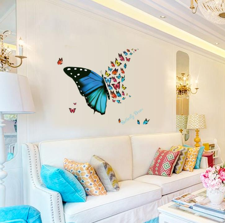 European Style Kids Wallpaper Colorful Butterfly Wall Stickers For Bedroom Living Room Art Decal Poster Animals Home Hotels