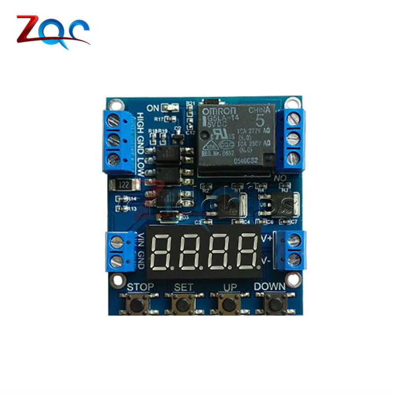 6-30V Trigger Delay Cycle Timer 1-Channel Relay Module Circuit Switch 1pc red dc12v pull delay timer switch adjustable relay module 0 to10 second t1098 p