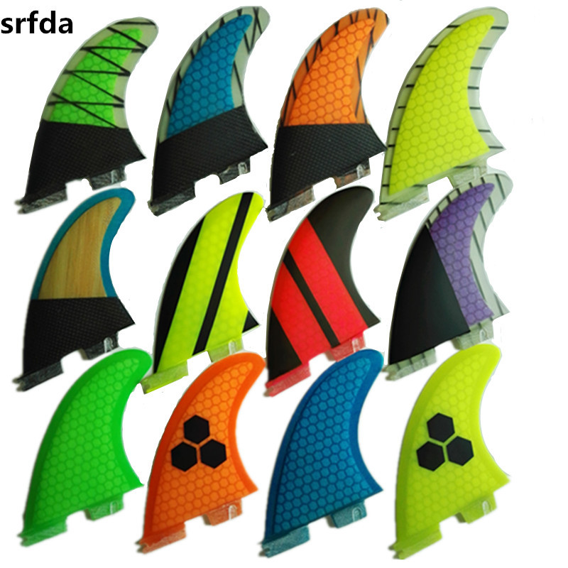 Srfda  SURF Fins For FCSII Box With Fiberglass Honey Comb Material For Surfing (three-set) Size G5/MSUP Surfboard Fins