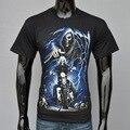Новое Лето Мужчины с коротким рукавом футболки Мужской Топы 3D Череп душа колесница печати Тройники Ghost Rider Печатных 3D черные футболки