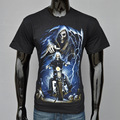 New Summer Men  short sleeve t-shirt Male Tops 3D Skull soul chariot printing Tees Ghost Rider Printed 3D black t-shirts