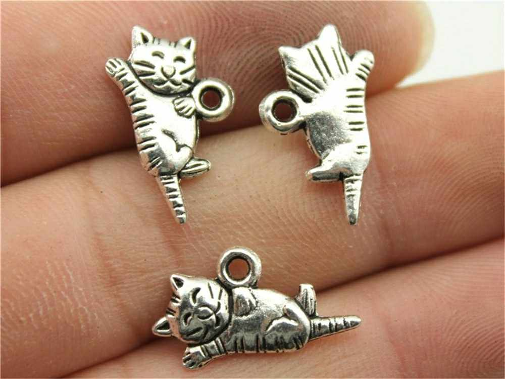 WYSIWYG 12pcs 20x12mm Lovely Cat Charm Pendants For Jewelry Making Antique Silver Kawaii Cat Pendants Charm Rolling Cat