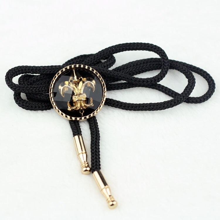 America Cowboy Bolo Tie 2015 Fashion Vintage Gold Black Bow Tie Mens Accessories Bola Shoestring Necktie Necklace Free Shipping