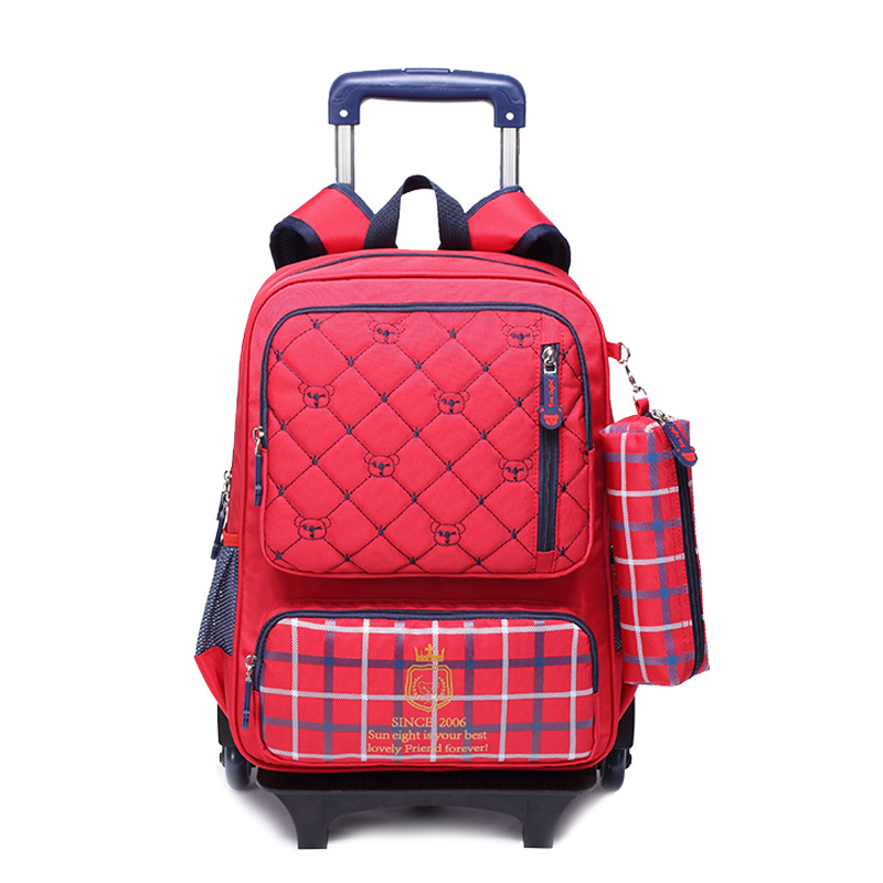 Nylon waterproof children school wheeled bag kids trolley backpack mochila infantil escolar feminina for teenagers girls boys delune new european children school bag for girls boys backpack cartoon mochila infantil large capacity orthopedic schoolbag