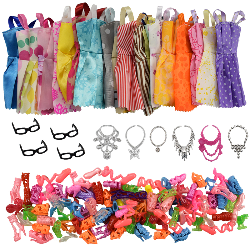 30 Item/Set Doll Accessories=10 Pcs Mixed Doll Clothes Dress+10 Pairs Doll Shoes +4 Glasses+6 Plastic Necklace for Barbie doll lot 15 pcs 10 pairs of shoes